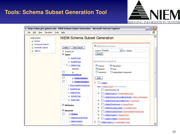 Tools: Schema Subset Generation Tool