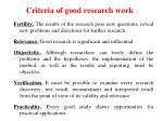 criteria of good research work