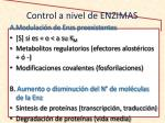 control a nivel de enzimas