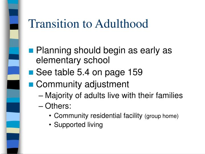 transition to adulthood The latest material added to the australian institute of family studies library database is displayed, up to a maximum of 30 items where available online, a link to the document is provided.