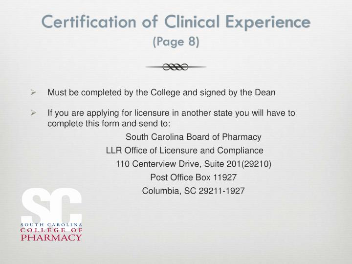 Certification of Clinical Experience
