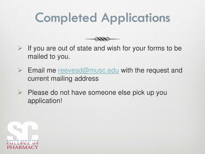 Completed Applications