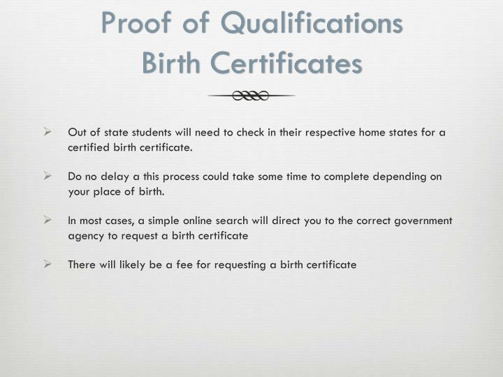 Proof of Qualifications