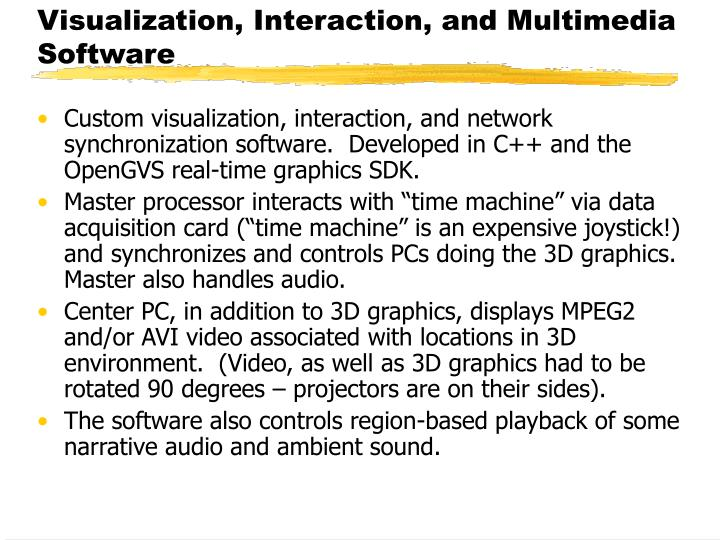 Custom visualization, interaction, and network synchronization software.  Developed in C++ and the OpenGVS real-time graphics SDK.