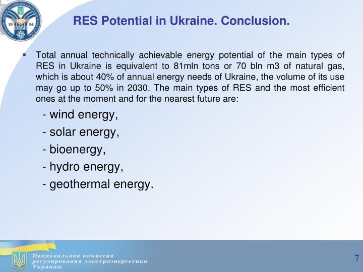 RES Potential in Ukraine
