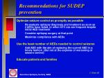 recommendations for sudep prevention