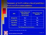 summary of aan evidence based guidelines level a or b recommendations