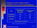 summary of aan evidence based guidelines level a or b recommendations1