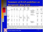 summary of ilae guidelines on therapeutic drug levels