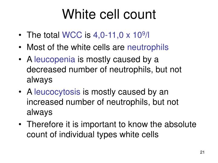White cell count