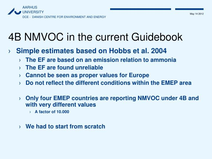 4B NMVOC in the current Guidebook