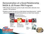 demonstration of a good relationship nada jd power pin program