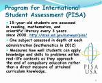 program for international student assessment pisa