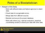 roles of a biostatistician1