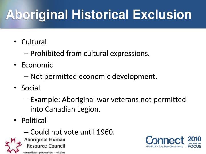Aboriginal Historical Exclusion