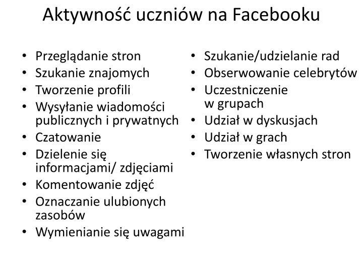 Aktywność uczniów na Facebooku