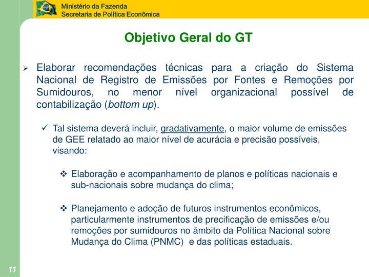 Objetivo Geral do GT