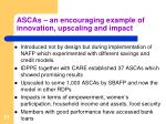 ascas an encouraging example of innovation upscaling and impact