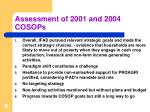 assessment of 2001 and 2004 cosops