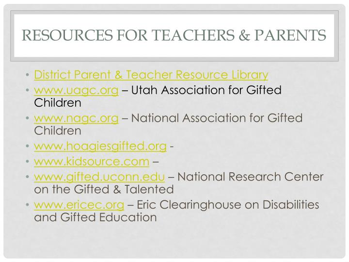 Resources for Teachers & Parents