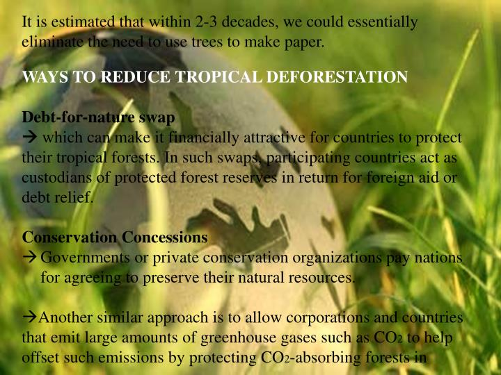 It is estimated that within 2-3 decades, we could essentially eliminate the need to use trees to make paper.