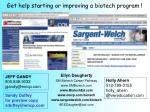 get help starting or improving a biotech program