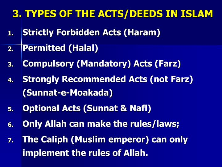3. TYPES OF THE ACTS/DEEDS IN ISLAM