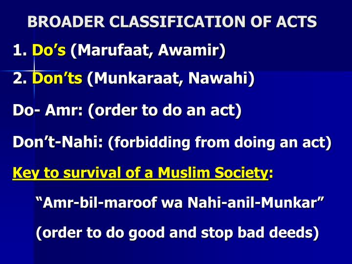 BROADER CLASSIFICATION OF ACTS