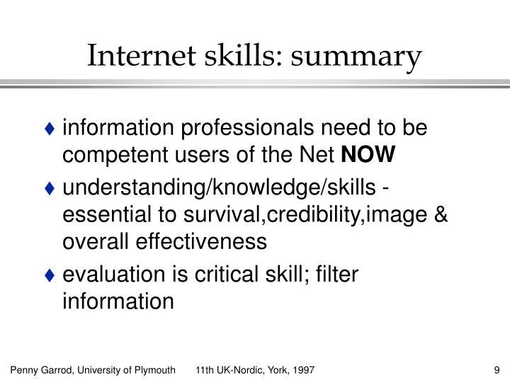 Internet skills: summary