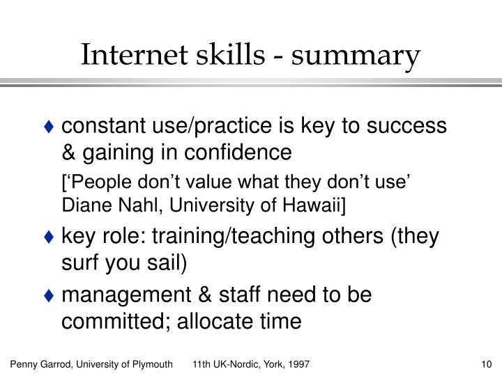 Internet skills - summary