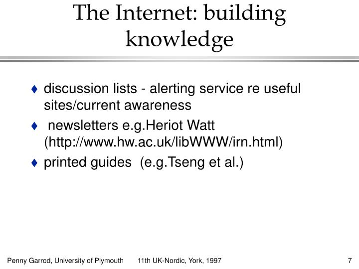 discussion lists - alerting service re useful sites/current awareness