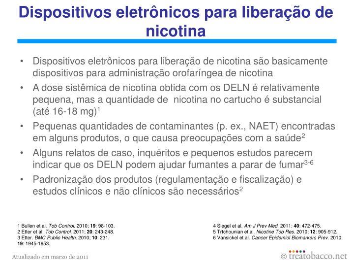 Dispositivos eletrônicos para liberação de nicotina