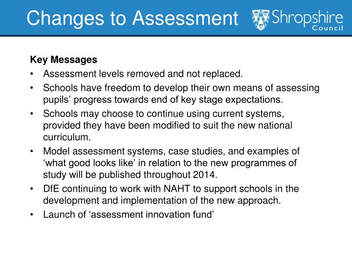 Changes to Assessment