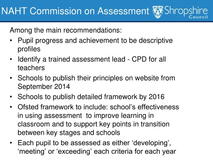 NAHT Commission on Assessment