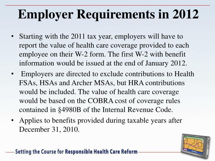 Employer Requirements in 2012