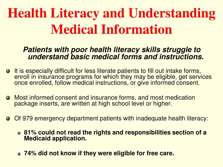 Health Literacy and Understanding Medical Information