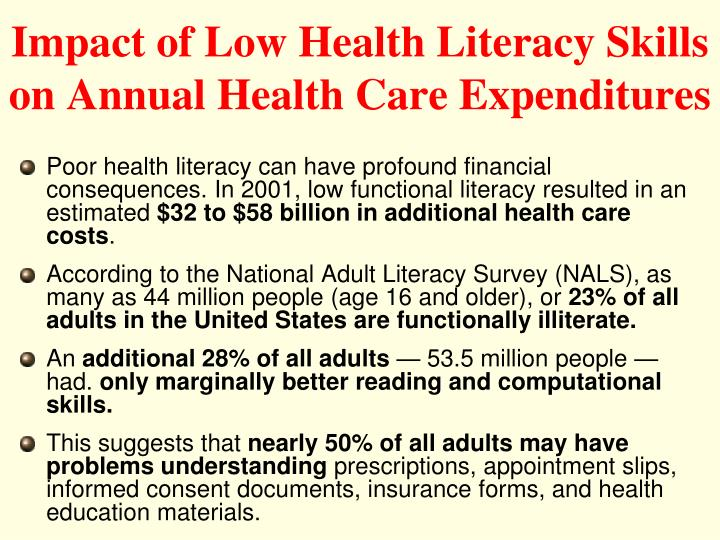 Impact of Low Health Literacy Skills on Annual Health Care Expenditures