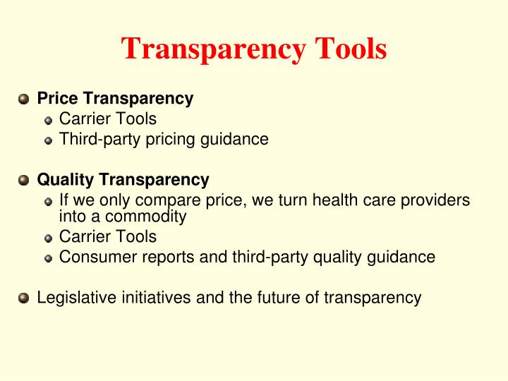Transparency Tools