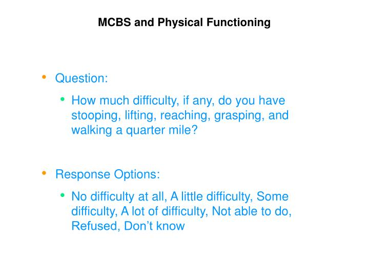 MCBS and Physical Functioning