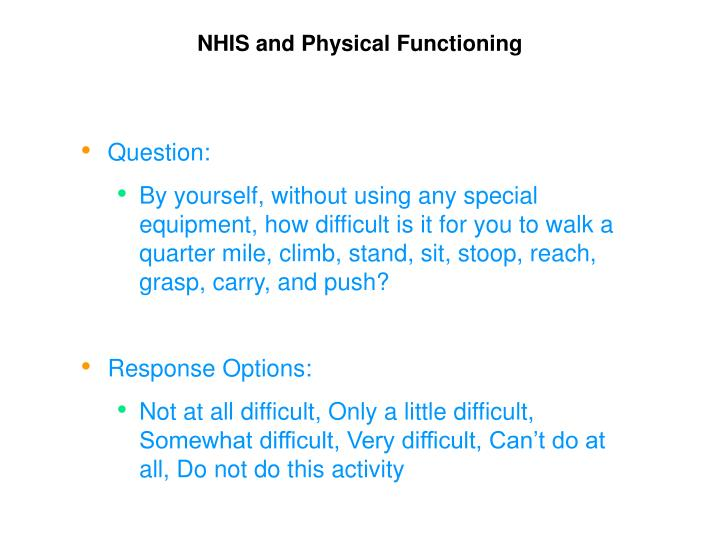 NHIS and Physical Functioning