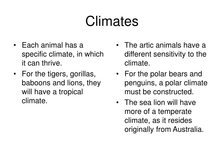 Each animal has a specific climate, in which it can thrive.