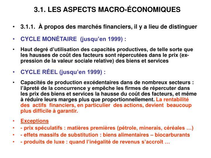 3.1. LES ASPECTS MACRO-