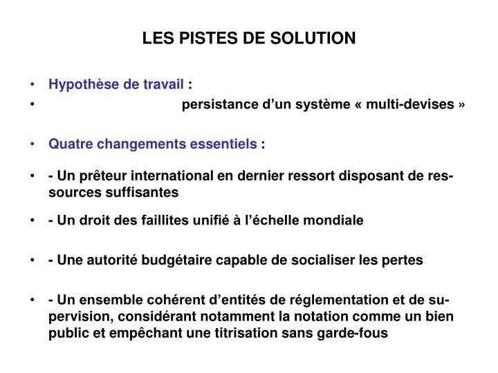 LES PISTES DE SOLUTION