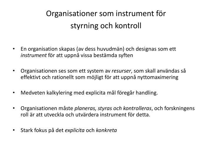 Organisationer som instrument för