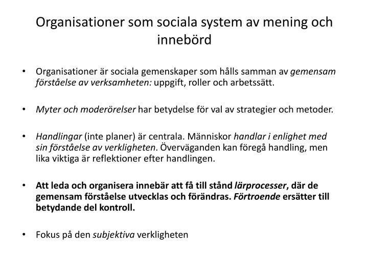 Organisationer som sociala system av mening och innebörd
