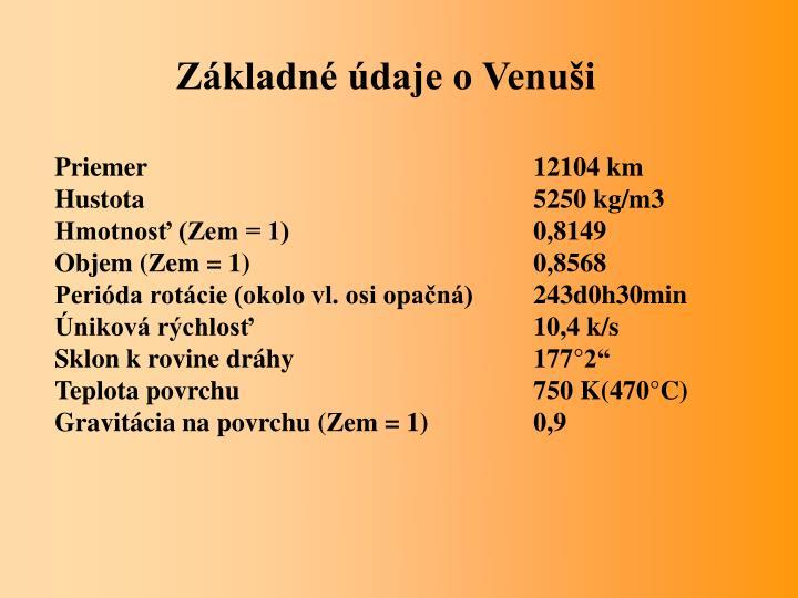 Základné údaje o Venuši
