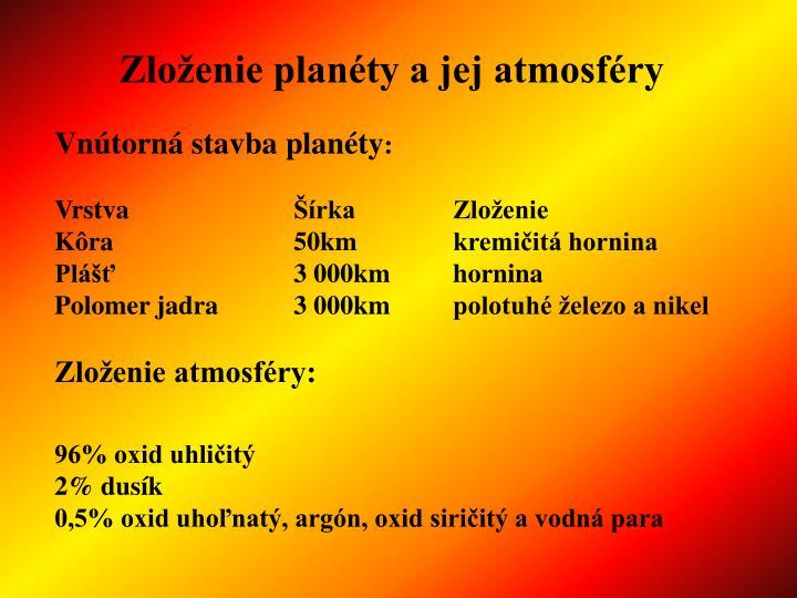 Zloženie planéty a jej atmosféry