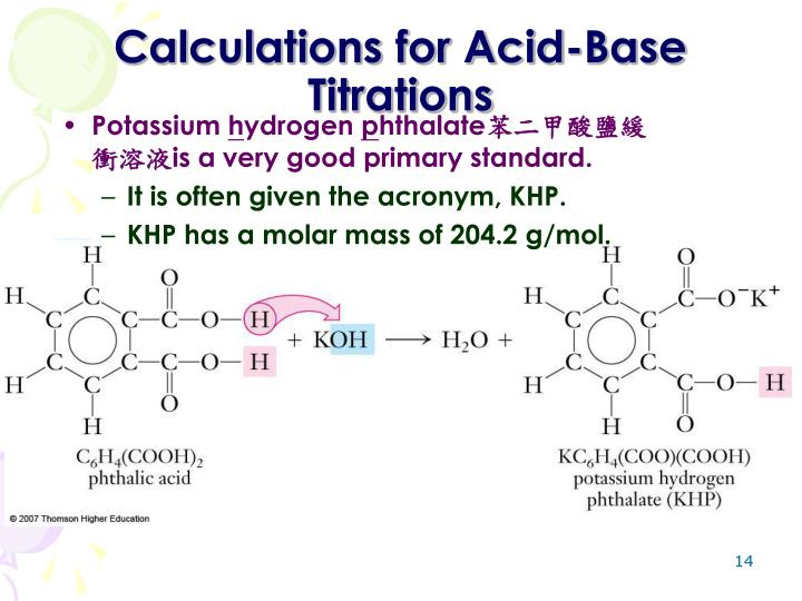 Calculations for Acid-Base Titrations