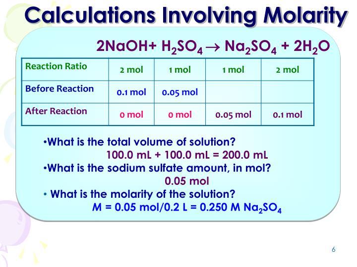Calculations Involving Molarity