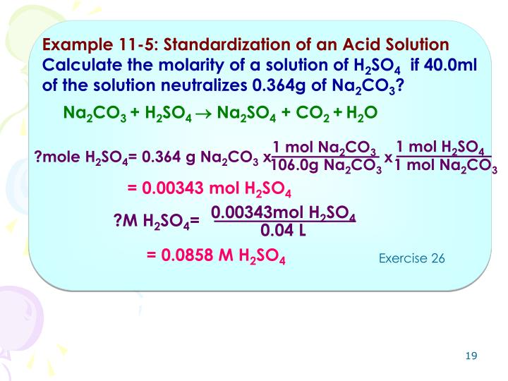 Example 11-5: Standardization of an Acid Solution